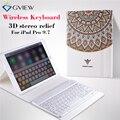 Для iPad pro 9.7 Tablet Чехол с Клавиатурой Bluetooth 3D рельеф Краска Кожаный чехол Coverfor iPad Pro 9.7 Защитный Стенд случаях