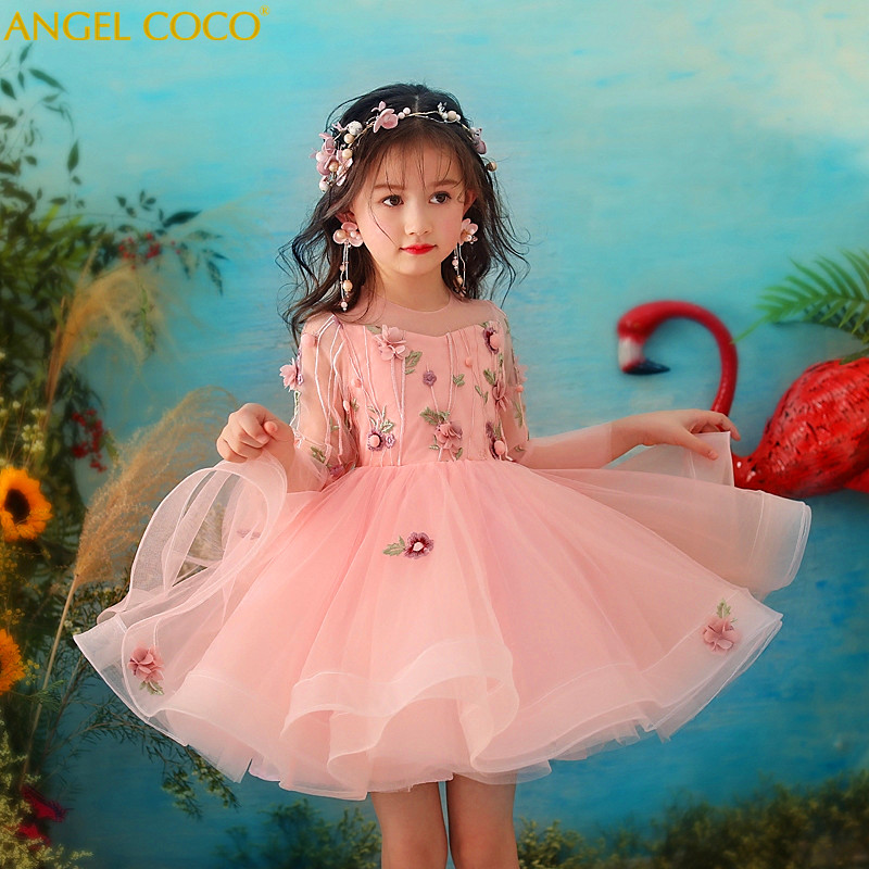 Flower Girl Dress Pink Long Sleeve Cute Suit Tulle Wedding Party Dress 2018 Summer Princess Dresses Clothes Robe Fille Carnaval round neck ladies sweater dresses cotton knitted 2018 summer womens mini dresses long sleeve party dress robe longue femme q1