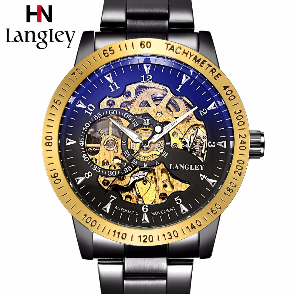 LANGLEY 2018 New Men's Watch Automatic Mechanical Wristwatch Stainless Steel Skeleton Fashion Male Watches Waterproof Gift Box langley new modern dragon watches men automatic mechanical watch male skeleton golden wristwatch luxury brand stainless steel