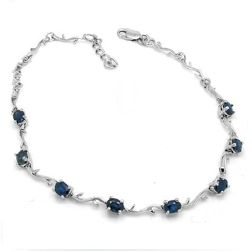 2017 Rushed Qi Xuan_Free Mail Dark Blue Stone Flower Bracelets_S925 Solid Silver Fashion Bracelets_Manufacturer Directly Sales 2017 rushed qi xuan red stone bangles