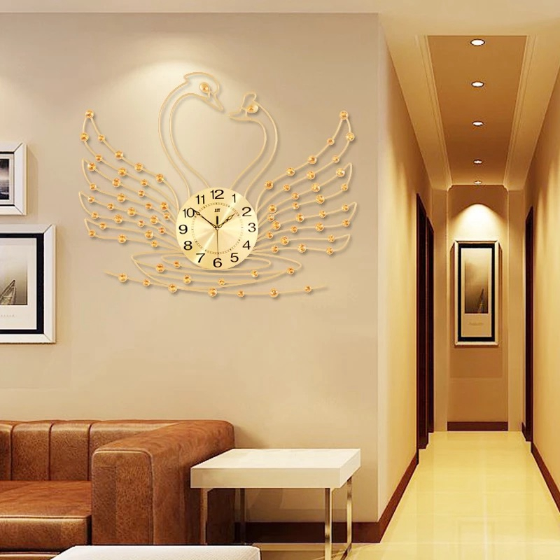Us 81 2 44 Off Swan Wall Clock Modern Design Living Room Watches Acrylic Diamonds Decorative Non Ticking Art Home Decor In