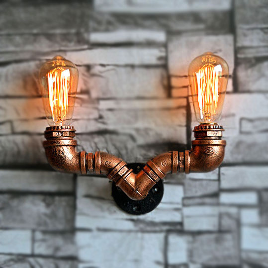 European antique iron art water pipe wall lamp creative industry wind home decoration bar restaurant hotel wall decoration european creative sheep goat side table nordic style log home furnishing decoration hotel restaurant bar decor free shipping