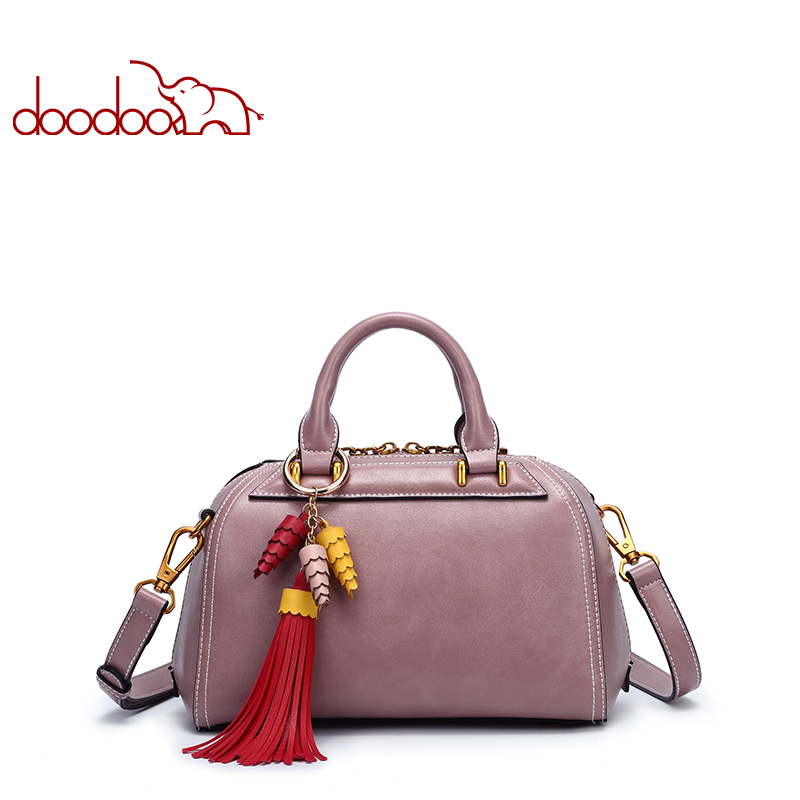 DOODOO Fashion Women's handbags Boston Shoulder Bag Ladies PU Leather Messenger bag Tassel Clutch Female Crossbody Bags new punk fashion metal tassel pu leather folding envelope bag clutch bag ladies shoulder bag purse crossbody messenger bag