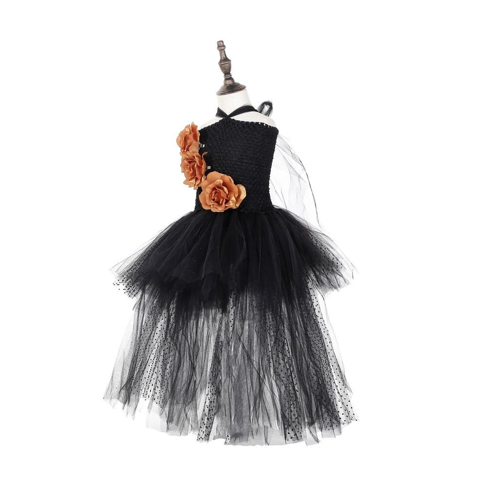 Black Polyester Mesh Polka Dot Dress with Gold Flower Wedding Dress Long Train Halloween Costumes for Teens Xmas Clothes Vestido (4)
