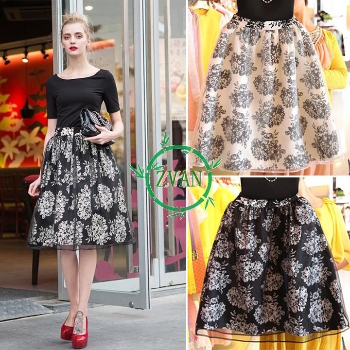 2014 Retro Long Skirt Women Floral Printed High Waist Organza Elegant European Style Swing White Black Chiffon - China's largest production plant of bags store
