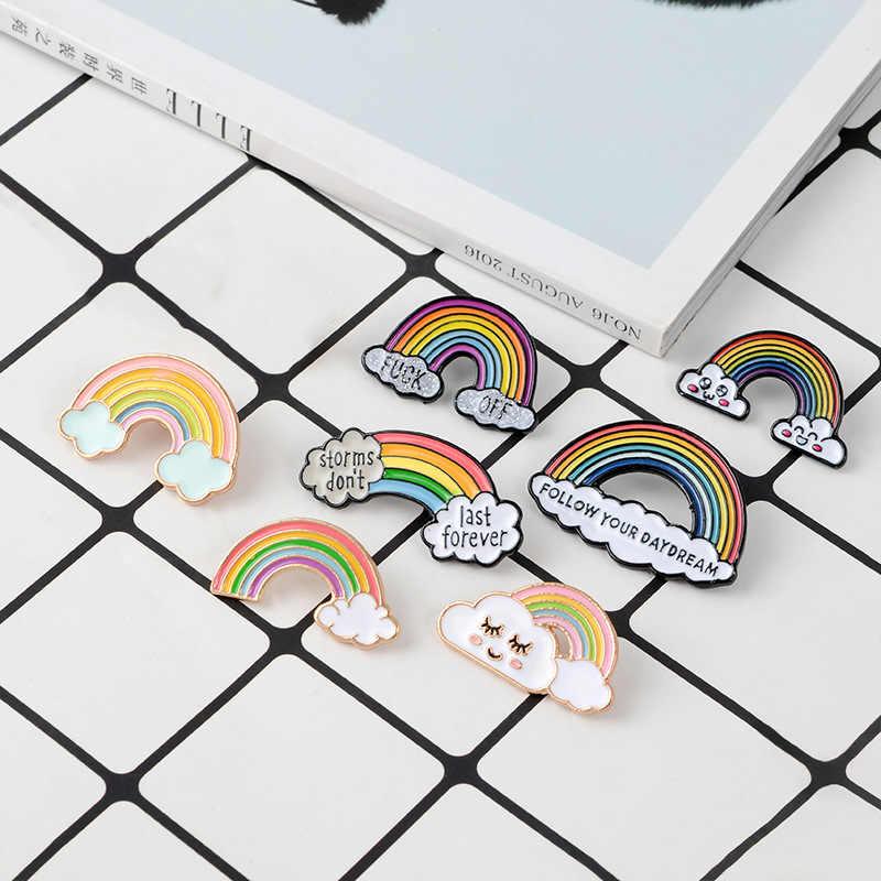 สายรุ้งและเมฆเคลือบ Pin การ์ตูน Rainbow เข็มกลัดคอลเลกชันแฟชั่นโลหะเข็มกลัด Pins Badge ของขวัญผู้หญิงผู้ชายเด็ก