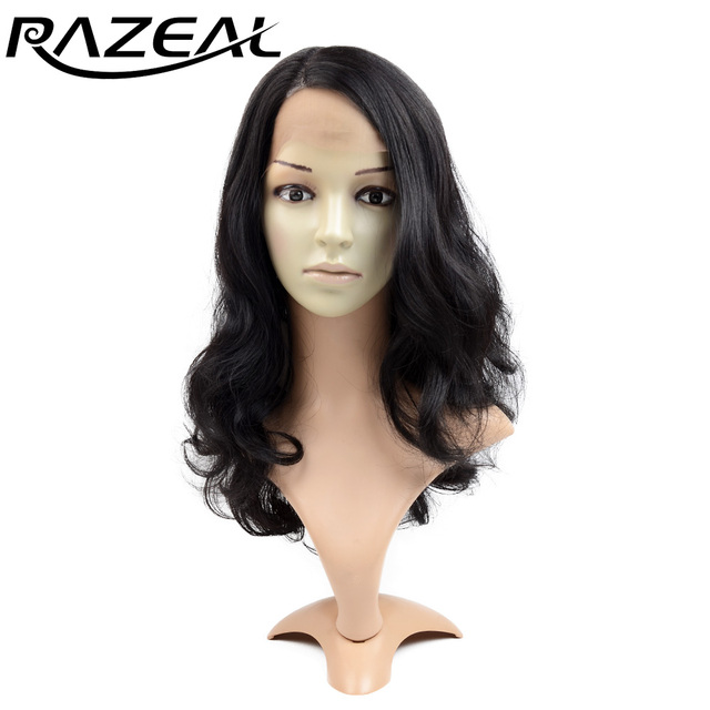 Razeal  20 inch Long Wavy Hair Heat Resistant Synthetic Lace Front Wigs L Natural Part African Americans Wigs