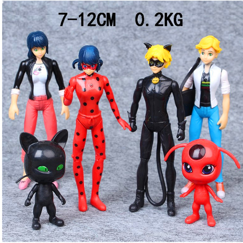 Miraculous Ladybug Super Cat Hand 6Pcs/Set Magic Girls Bosom With The Light Action Figure Collectible Model Toy OPP Bag S152