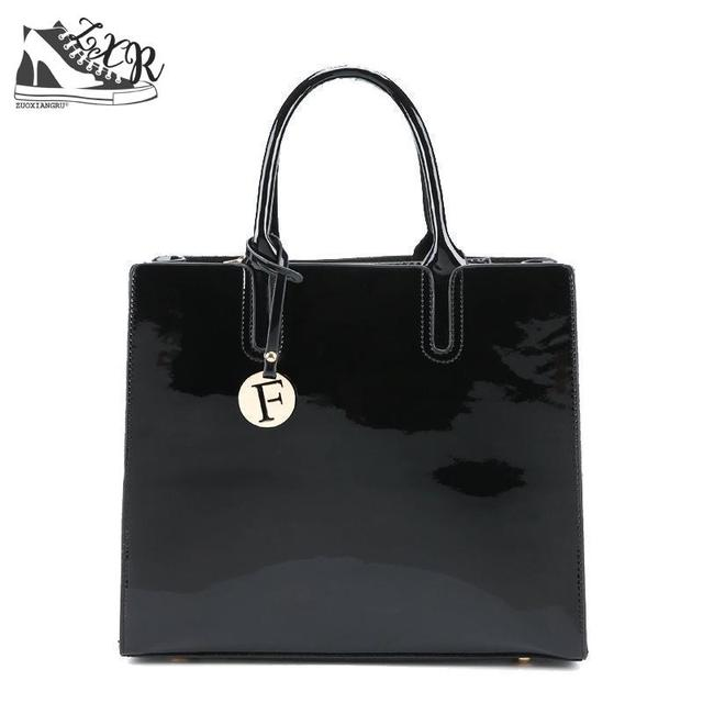 b59de76bb1e6 Black Red Patent Leather Tote Bag Handbags Women Famous Brands Ladies  Lacquered Bag Chic Handbag For Women Shoulder Bag