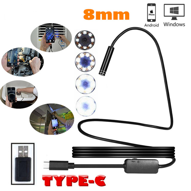 8mm Type C Android USB Endoscope 10M Snake Industria Endoscope Waterproof Borescope Inspection Video Camera for Android Windows