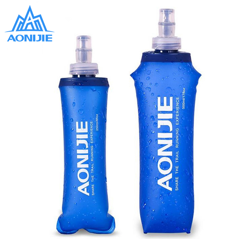 AONIJIE Soft Water Bag Sport all'aria aperta Running Soft Flask Pieghevole Off-Road Water Vescica Campeggio Escursioni in bicicletta Borse 250 / 500ML