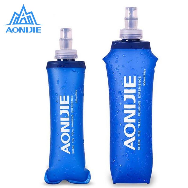 AONIJIE 소프트 워터 가방 옥외 스포츠 러닝 소프트 플라스크 접이식 오프로드 물 방광 캠핑 사이클링 하이킹 가방 250 / 500ML