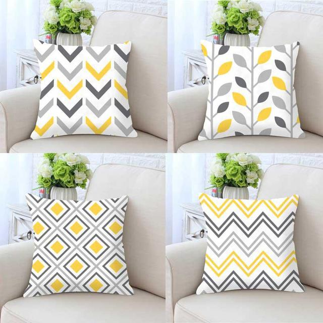 Terrarium Geometric Pillow Case Yellow Home Decor Gray Cushion Cover Vintage Triangle Hipster Pattern Print Throws