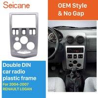 Seicane 2Din Dash Installation Kit radio Fascia for 2004 2005 2006 2007 RENAULT LOGAN CD Trim Stereo Frame Panel