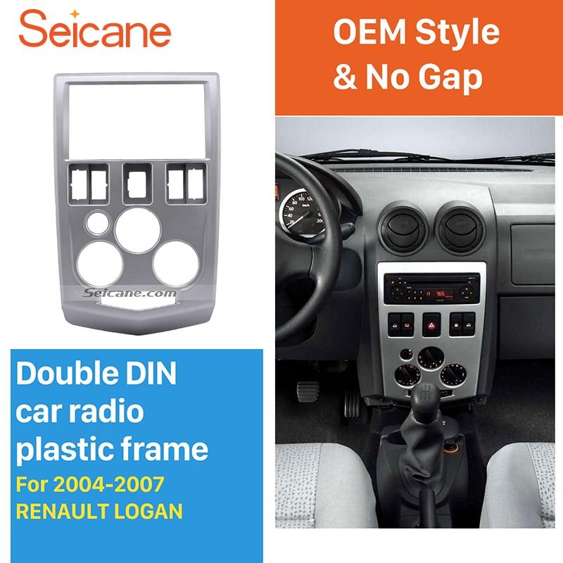 Seicane Popular 2Din car radio Fascia for 2004-2007 RENAULT LOGAN Trim Dash CD Installation Kit Stereo Interface Frame Panel