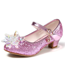 New Children Leather Shoes Girls Transparent Flower Silver Crystal Princess High-heeled Shoes Rhinestone Kids Wedding Shoes 02A босоножки no pink crystal high heeled princess shoes