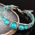 """Tibetan Silver Blue Glass Round Beads Charm Bracelet Bangle 6.5""""L-7""""L  1PCS"""