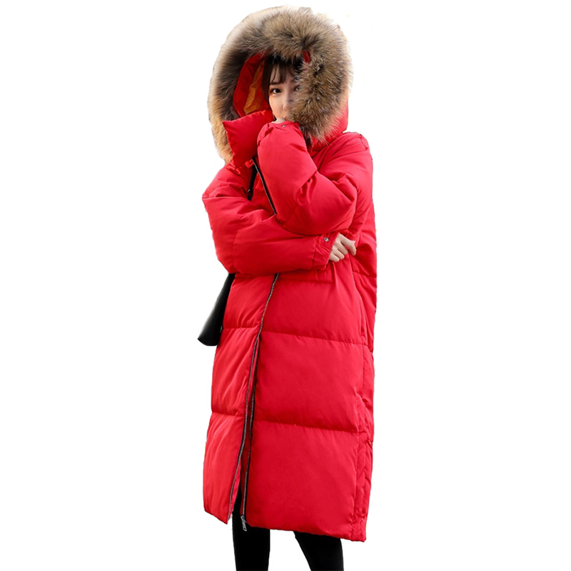 Winter Parka Women   Down   Jacket Thick Warm Raccoon fur collar Hooded Tops Loose Large size Female Long White duck   down     Coats   H593