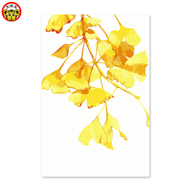 Diy digital oil painting gold Ginkgo biloba L Flower North Europe ...
