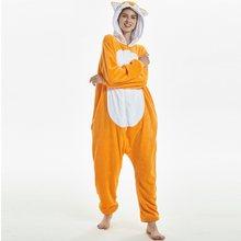 Кигуруми ЛИСА с длинным рукавом с капюшоном onesie фланель теплый цельный  животных пижамы Зима взрослых кугуруми 75828773cd3af