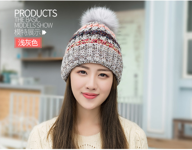 Winter hat girls  fashion color knit cap and thick warm winter hat lovely for lady