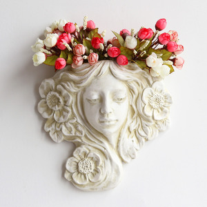 Maceta colgante de 10 pulgadas y contenedor de decoración de pared de Ángel de resina, maceta para flor Haning-ideal para plantas suculentas