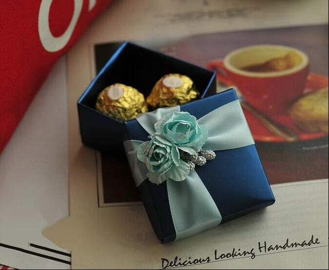 10pieces Free Shipping Navy Blue Wedding Favor Box 4 Sizes Gift Bo Candy