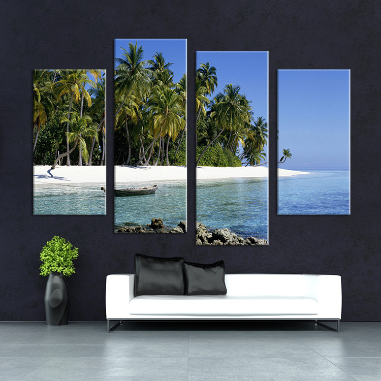 4 Piece boat on the sea paints vertical oil paintings for