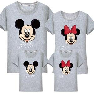 Image 4 - Ropa a juego para la familia, camiseta de Minnie y Mickey de algodón para papá e hija, camisa de trajes a juego, camiseta de aspecto familiar de maman fille