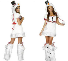 Sexy Adult Women Christmas Halloween Costume Free Shipping Woman White Penguin Clothing Sets Dresses with Hats Leggings 3pcs/set