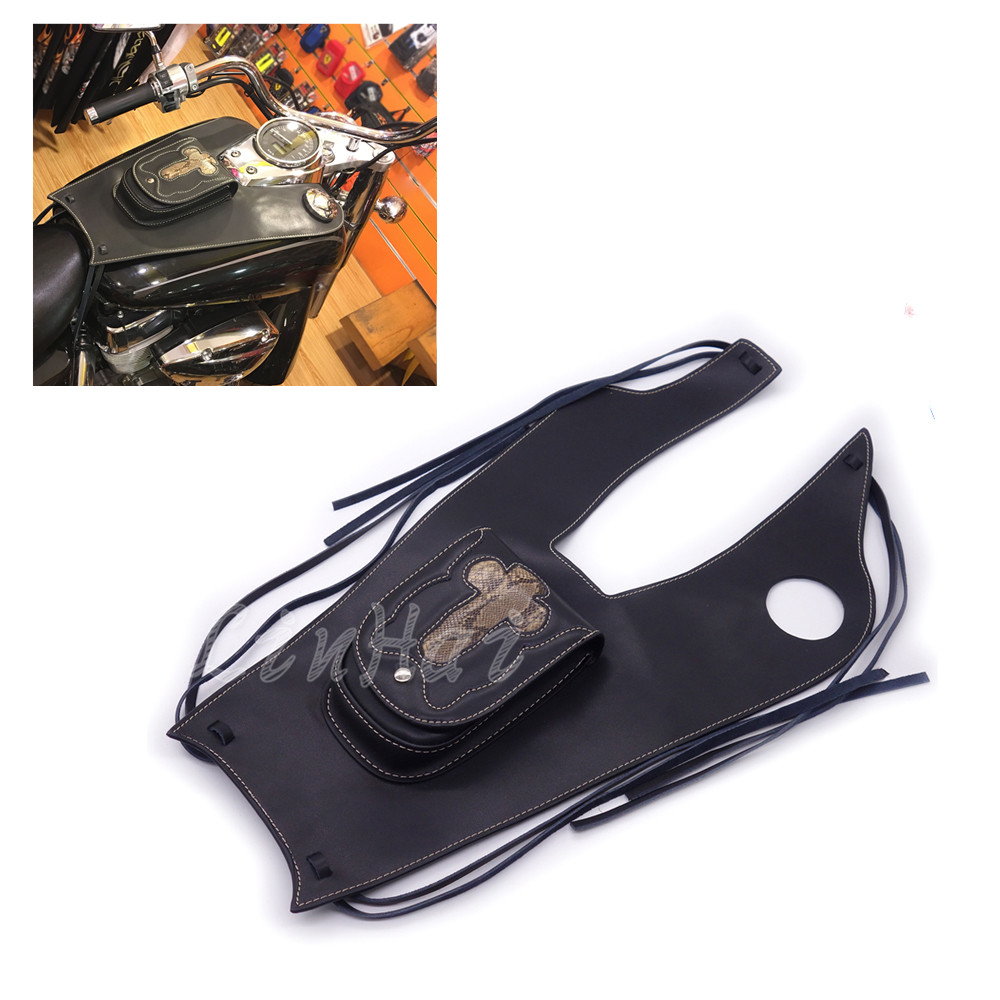 Motorcycle PU Leather Right Tank Cap Panel Cover Bag For Honda Shadow VT750 C2 C4 RC50