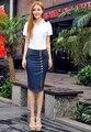 2015 новых прибытия женщин весна лето большой ярдов джинсовой бюст юбки женщины тонкие бедра эластичный ковбой юбка