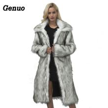 Genuo Luxury Winter Coat Women 2018 Fashion Long Sleeve Jacket Warm Loose Thick Lengthen Faux Fur Outerwear Plus Size