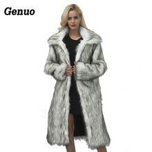 Genuo Luxury Winter Coat Women 2018 Fashion Long Sleeve Jacket Warm Loose Thick Lengthen Faux Fur Outerwear Plus Size