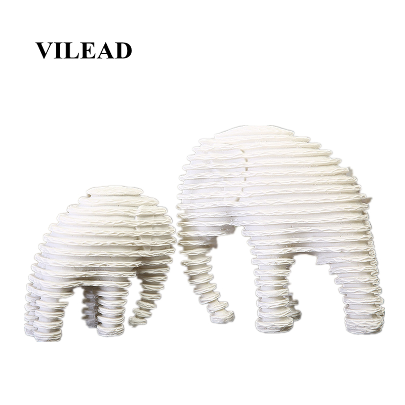 VILEAD 7 9.8 Sandstone Striped Elephant Statuettes Mother & Son Animal Figurines Ornaments for Home Event Party Supplies