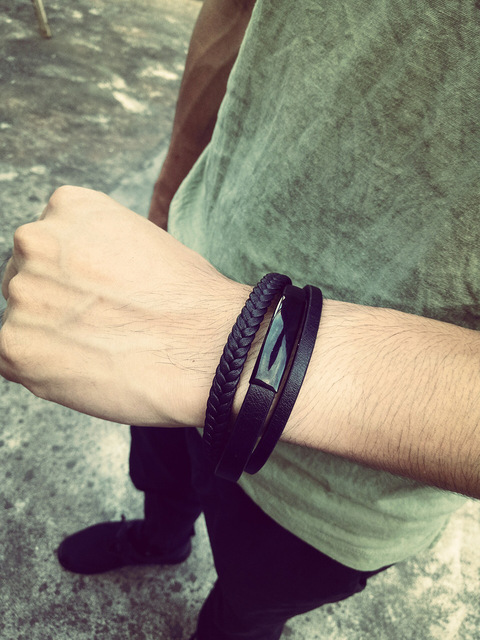 модный мужской браслет 2020 черные ювелирные изделия из искусственной фотография