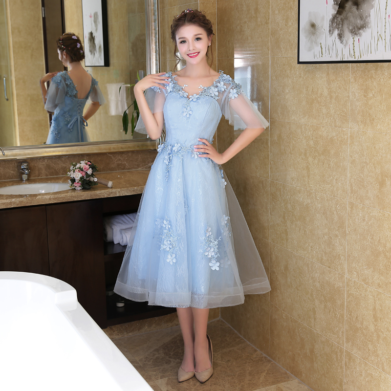 Robe de soiree 2019 Tea-Length thin A Line evening Dress toast ceremonial party dress vestido de festa prom dresses 3 colors