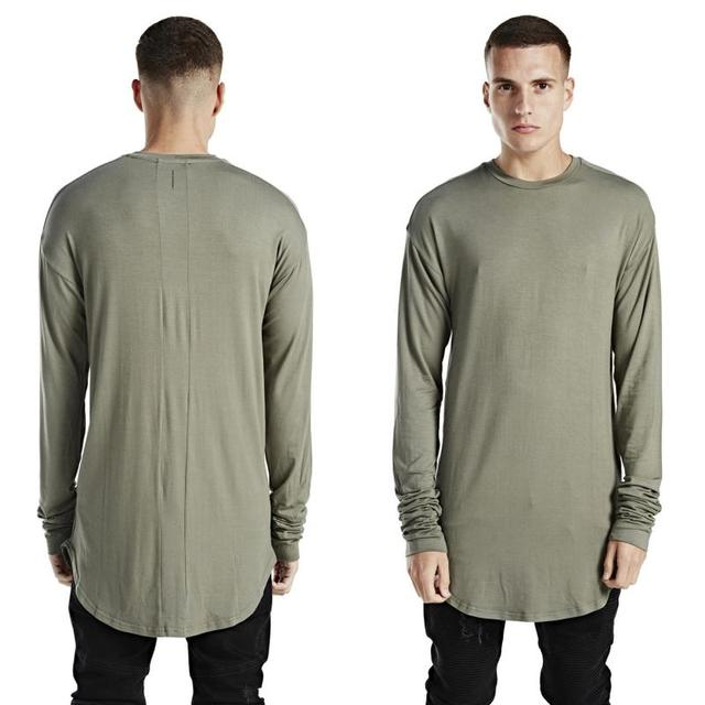 olive green long sleeve t shirt streetwear designer uk hip hop ...