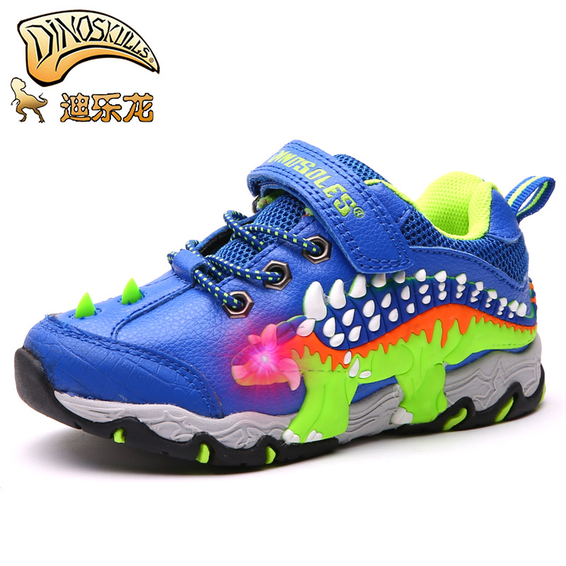 Dinoskulls Autumn Leather Glowing Shoes Boys Dinosaur Light Up Kid Led Shoes Child School Running Sneakers Breathable EU #27-34