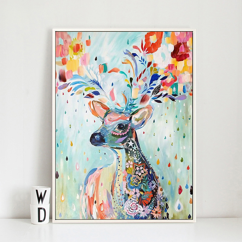 watercolor deer painting canvas print poster nordic bird wall art picture for home decoration. Black Bedroom Furniture Sets. Home Design Ideas
