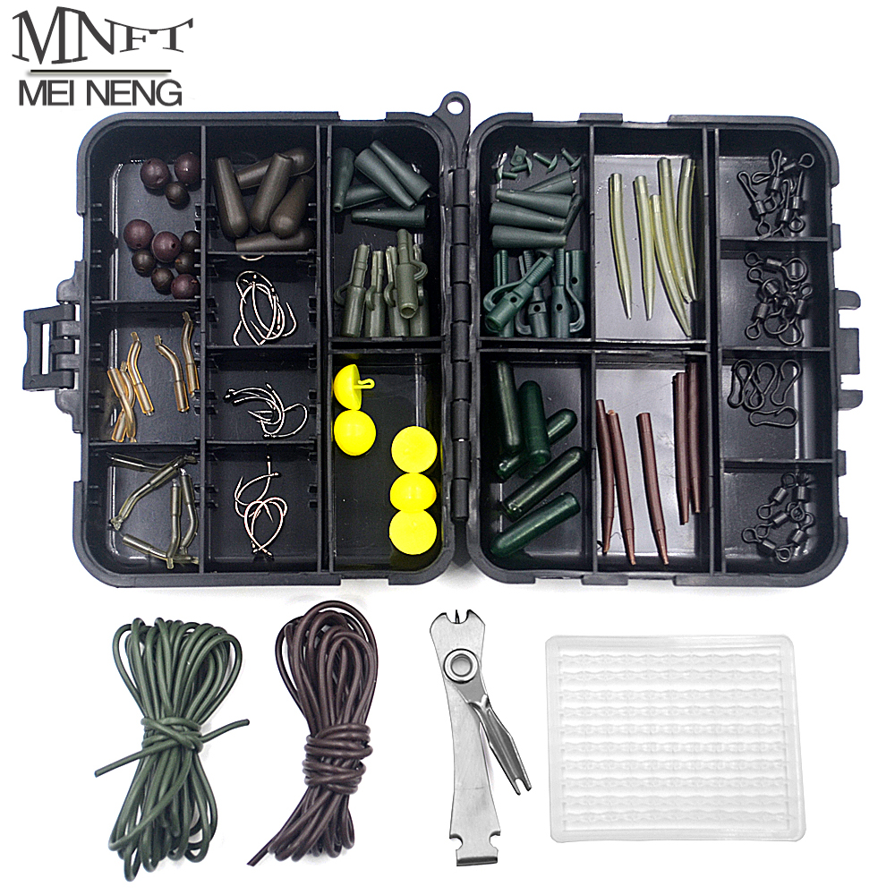 MNFT 1Set Assorted Carp Fishing Tackle Box Kit Hook/Safety Lead Clips/Boilie Stopper/Swivels Terminal / Beads / Clips / Sleeves