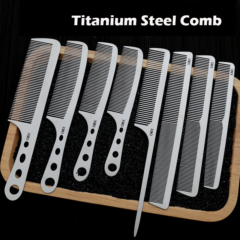 Brainbow 1PC Titanium Steel Comb Professional Salon Hair Hairdressing Anti-static Barbers Comb Ultra Thin Hair Brush For Men