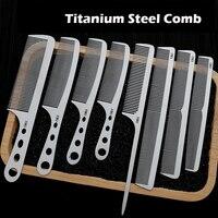 Brainbow 8PC/Set Titanium Steel Comb Kit Professional Salon Hair Hairdressing Anti static Barbers Comb Ultra Thin Hair Brushes