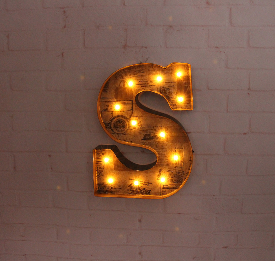 aliexpresscom buy 12vintage metal letters light led marquee sign light up metal letter signs light indoor wall decor customize order free shpping from