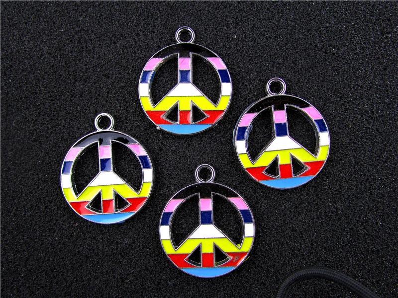 AE607 Mix Color 100Pcs Alloy Metal Enamel Peace Sign Charms Pendants 24x20mm