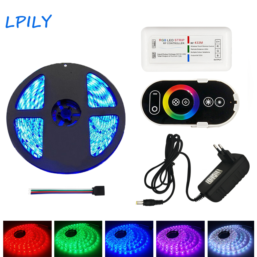 LPILY 20M 15M 10M 5M 5050 RGB LED Strip 60 leds/m Diode Tape Light rgb led With RF Remote Controller and Power Supply Set led light rgb 5050 led strip ip20 non waterproof flexible diode tape 2 4g rf remote rgb controller power adapter 20m 15m 10m 5m