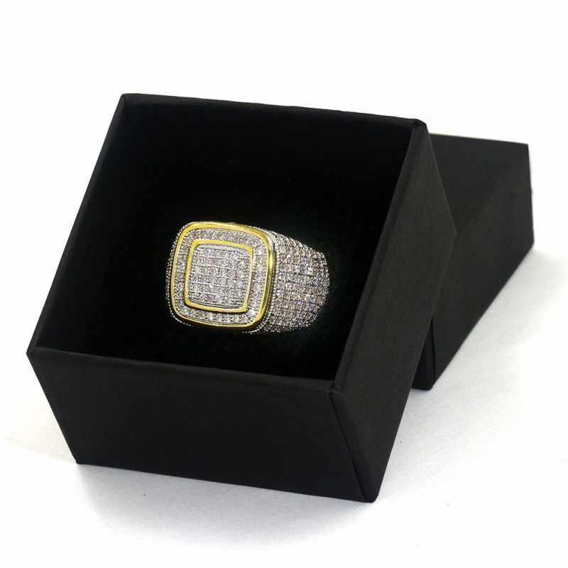 Vecalon luxo grande hiphop rock anéis para os homens pavimentar configuração 274 pçs aaaaa cz pedra ouro amarelo enchido 925 prata masculino anel de festa