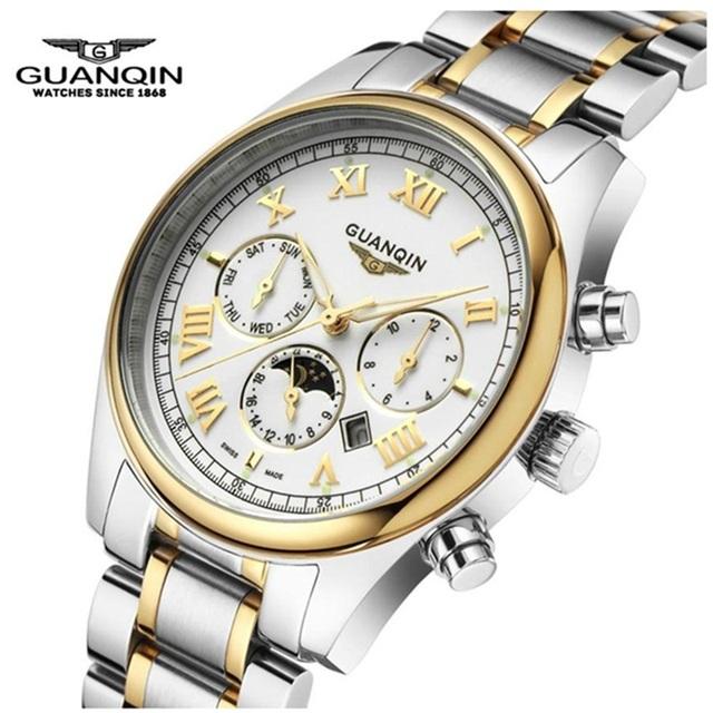 Marca original guanqin homens relógio de aço de quartzo moda relógio masculino fase da lua relógios relógio de luxo mens relógios de pulso à prova d' água