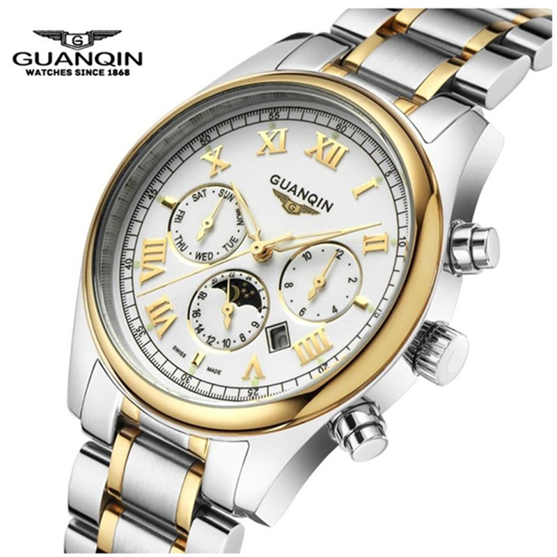 Original Brand GUANQIN Quartz font b Watch b font Moon Phase Shockproof Waterproof font b Watch