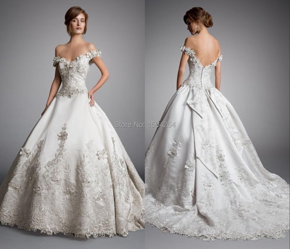 Vintage Design Ball Gown Wedding Gowns Chapel Train Satin Wedding ...